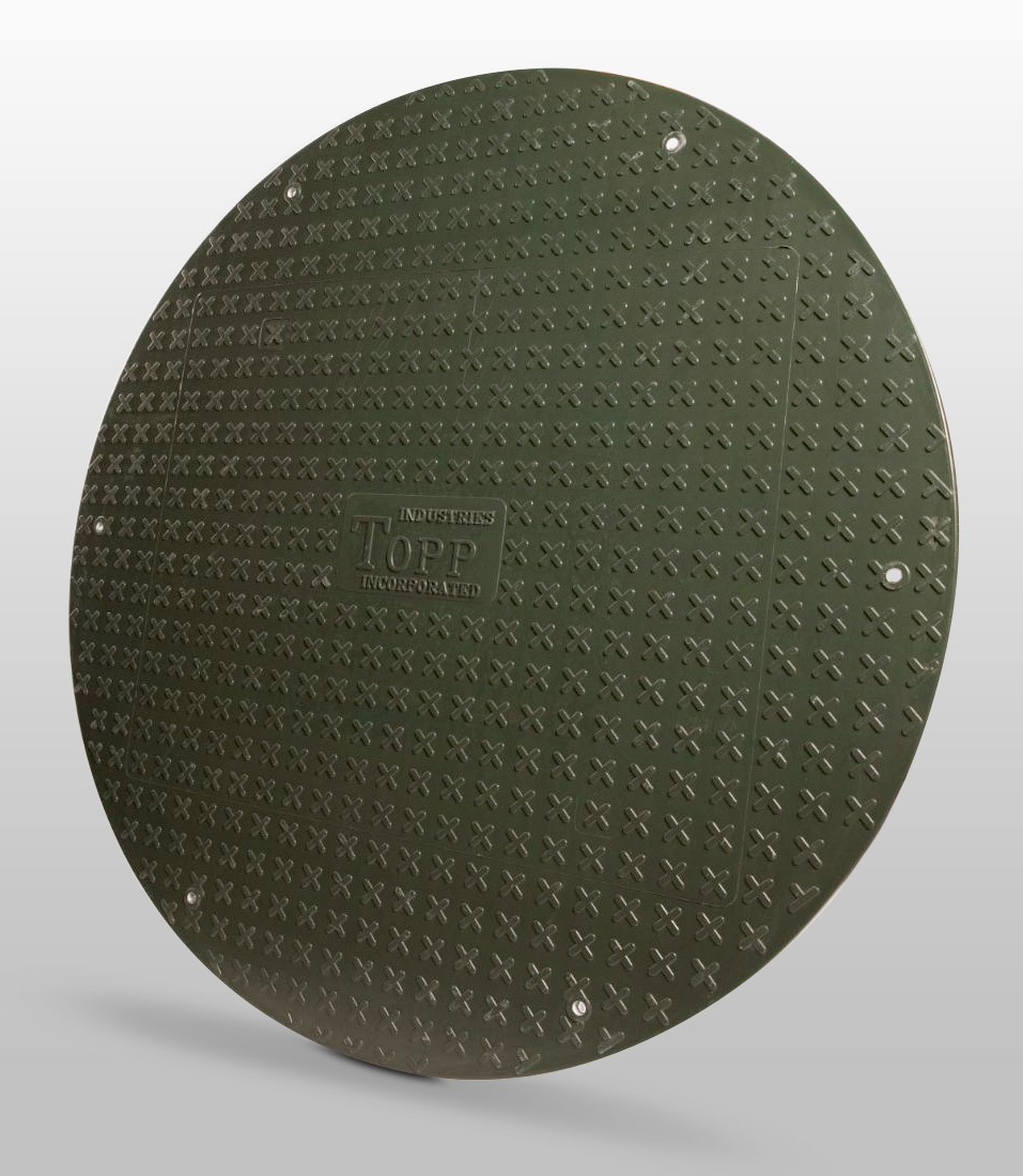 Non-skid fiberglass septic riser covers